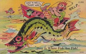 Fishing Humour Who 'N Hell Caught Who 1955 Curteich