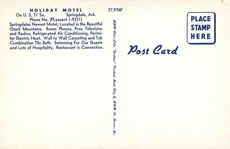 Springdale Arkansas~Art Deco Holiday Motel on S 71 Hwy~Swim Pool~1960 Postcard