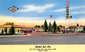 Fresno California 1940s Postcard Motel Bel Air