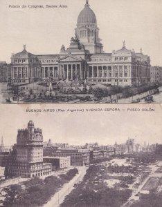 Buenos Aires Avenida Espora Palacio Del Congreso 2x Old Postcard s