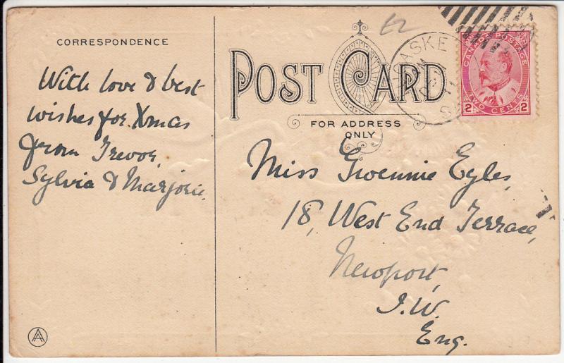 Canada Saskatchewan: Line from Tugaske, Flowers Fleurs Dove Bird, Embossed 1911