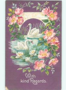 Pre-Linen SWAN BIRDS WITH PINK FLOWERS AC5653