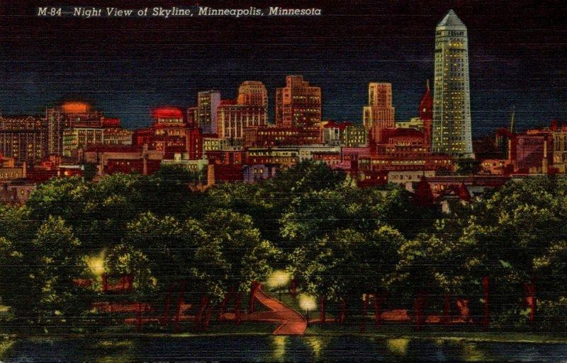 Minnesota Minneapolis Skyline At Night Curteich