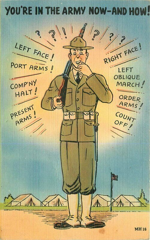 Army Commands Comic Humor Military Soldier 1940s Postcard Tichnor linen 7516