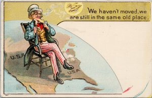 Uncle Sam United States 'We Haven't Moved' Moon Face USA Map Postcard G55 *as is