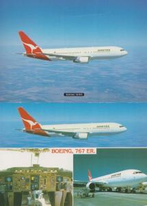 Boeing 767 at Wollongong New Zealand Flight Deck 2x Postcard