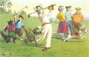 F87/ Alfred Mainzer Dressed Cat Comic Postcard c50s Golf Caddy 22