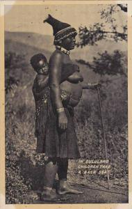 Topless Zulu Mom Carrying Her Boy On Her Back, Cape Town, South Africa, 1910-...