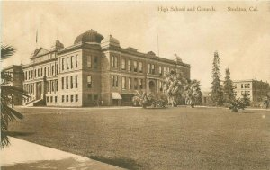 Albertype 1920s High School Grounds Stockton California Postcard 20-1199