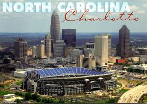 North Carolina Charlotte Skyline & Stadium Home Of The Carolina Panthers
