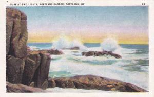 Surf at Two Lights Portland Harbor ME, Maine Linen