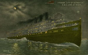 D & C Line - Steamer City of Detroit III at Night