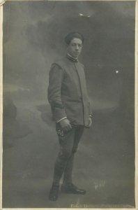 Postcard young man soldier uniform Besso Umberto photo