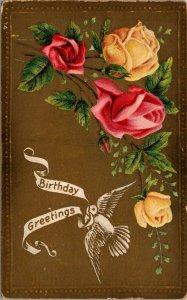 FLOWERS - GOLD - POSTED - BIRTHDAY GREETING - VINTAGE POSTCARD