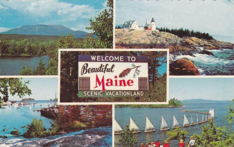 Mountains, Light House, Sail Boats, Autumn Trees, Welcome to Beautiful Maine,...
