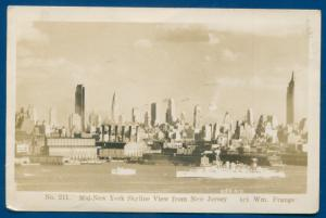 Mid New York Skyline view from New Jersey nj by Frange real photo postcard RPPC