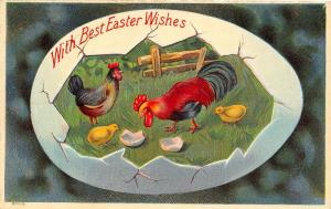 Easter Egg Shell Panorama~Rooster & Hen Inside~Farm Fence~Glossy Emboss~AA 1908