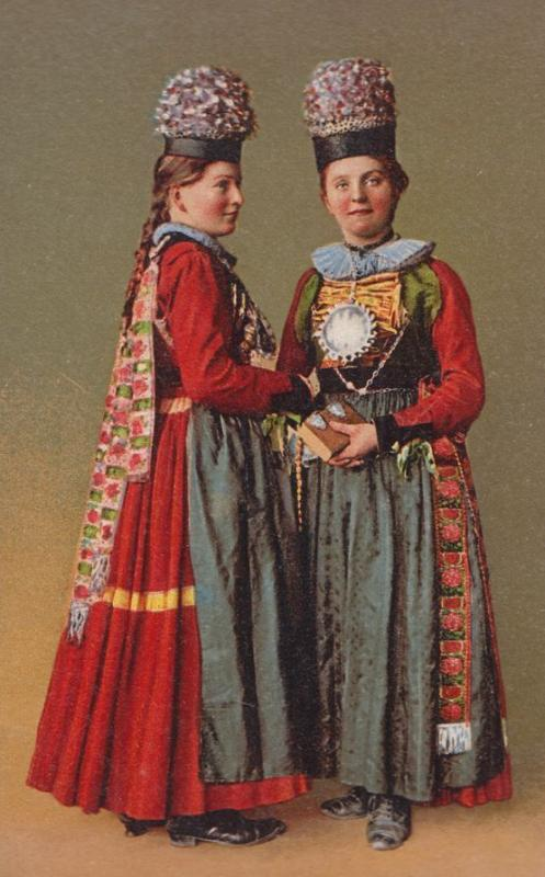 Freiburg Fashion Ladies Traditional Costume Swiss Switerland Old Postcard