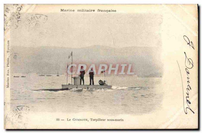 Old Postcard The warship Gymnote Torpedo Submarine