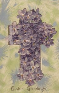 EASTER Greetings, 1900-10s; Purple flowers covering a cross, Booklet PC, WINCH