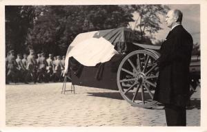 Prague Czechoslovakia~TG Masaryk Funeral~Coffin on Caisson~Pres Benes~c1937 RPPC