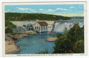 Ellsworth, Maine, Power House And Dam On Union River At Leonard Lake