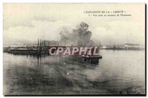 Old Postcard Boat Explosion Liberte the view taken at the time of & # 39explo...