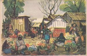 Jamaica Flower Market Scene