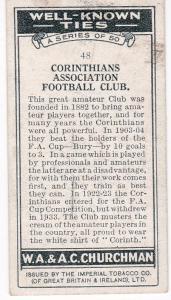 Cigarette Card Churchman WELL KNOWN TIES No 48 Corinthians Ass. Football Club