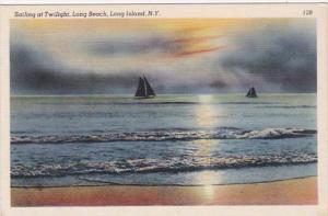 New York City Long Island Sauiling At Twilight At Long Beach