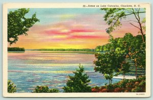 Charlotte North Carolina~Lake Catawba~Brilliant Sunset~1937 Linen Postcard
