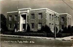 Vtg Postcard 1940s RPPC Court House - Rigby Idaho - UNP