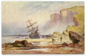 Ship Wreck Sailing Ship Filey Off Scarborough UK artist J Eaman Tuck postcard