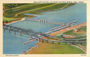 Linen of Alton Lock & Lewis & Clark Bridges Alton Illinois