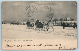 Postcard NJ Horse Sleighing on The Essex County Speedway Snow 1907 U10