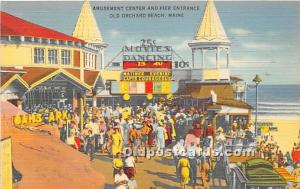 Old Orchard Beach, Maine, ME, USA Postcard Amusement Center and Pier Entrance...
