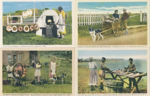 (4 cards) Gaspe QC Quebec Canada Bread Oven Dog Cart - Spinning Wheel -Fish - WB