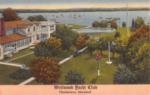 Charlestown Maryland Wellwood Yacht Club Birdseye View Antique Postcard K27344