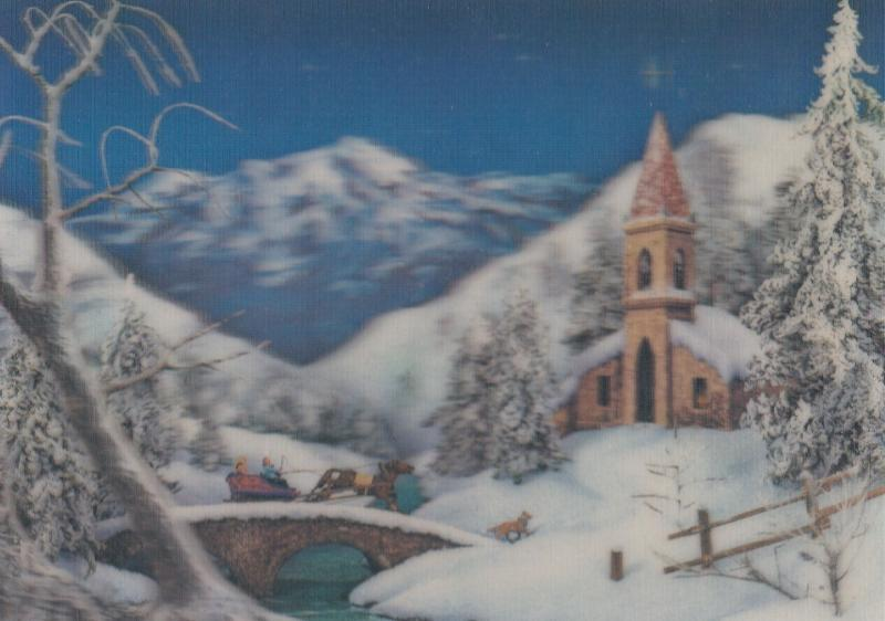 Santa Claus Sleigh 3D 1970s Christmas Postcard
