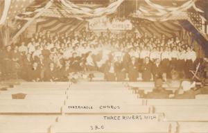 Three Rivers Michigan~Tabernacle Chorus under Flag Display~c1930s RPPC