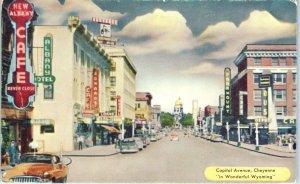 CHEYENNE, WY Wyoming   CAPITOL AVENUE Street Scene CAFE c1950s Cars Postcard