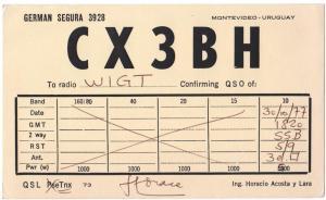 QSL, CX3BH, Montevideo, Uruguay, 1977
