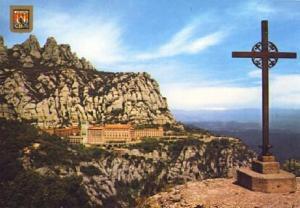POSTAL 57369: Montserrat San Miguel al fondo el Monasterio