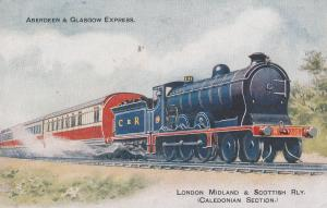 LMS Aberdeen & Glasgow Express Caledonian Section Train Postcard