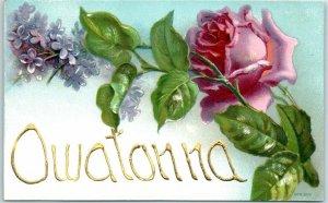 1910s Owatonna, Minnesota Embossed Postcard Hand-Written Greetings Pink Rose