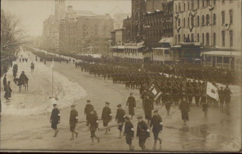 Washington DC Inaugural Parade Crew USS Illinois 1909 Real Photo Postcard dcn