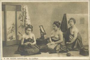 japan, Beautiful Nude Geisha Girls, La Coiffure, Hairstyle (1910s)