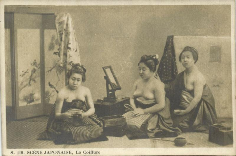 japan, Beautiful Nude Geisha Girls, La Coiffure, Hairstyle (1910s)