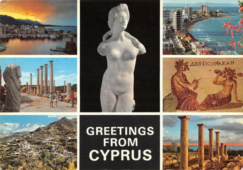 B108932 Cyprus Sunset over Kyrenia, Marble Forum Salamis Beach Temple