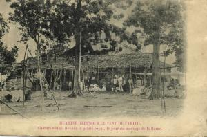 french polynesia, Society Islands, HUAHINE, Choirs gathered in front of Palace